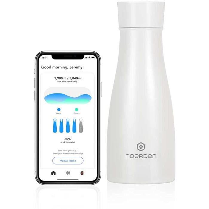 NOERDEN - Bouteille Intelligente LIZ 350 - Bouteille d'eau Autonettoyante en Acier - Couvercle sans BPA, Stérilisation UV, Rapp A258