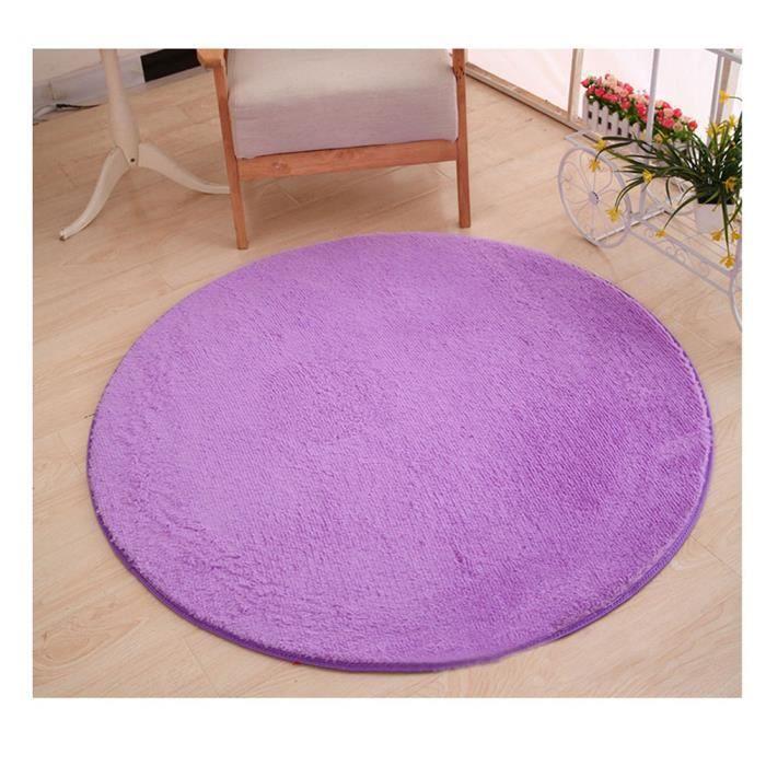 Shaggy Polaire de Corail Tapis Rond en Fausse Fourrure pour Chambre Violet (longueur de cheveux 3cm) 160*160cm