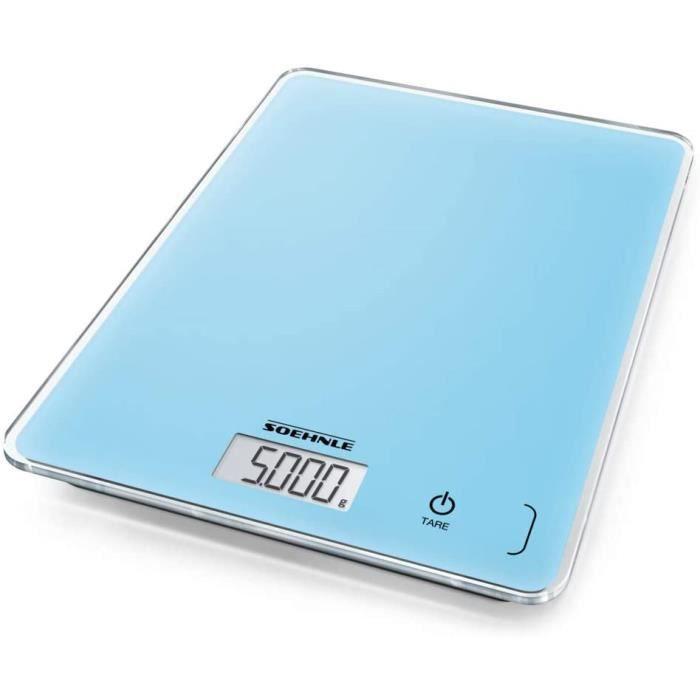 Soehnle Page Compact 300 Pale Blue, balance de cuisine multifonctions compacte & élégante, balance alimentaire de haute précision, p