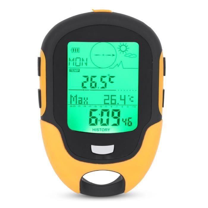 FR500 altimètre extérieur multifonctionnel voiture altimètre baromètre thermomètre hygromètre boussole-LAT