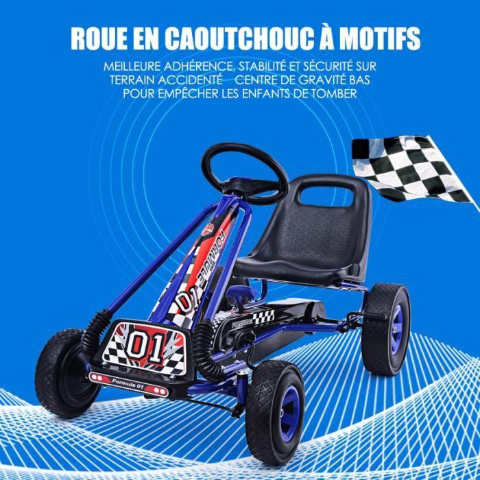 Kart à Pédales en Métal 1 Place Bleu avec Roues en Caoutchouc 101 x 61 x 62CM Convient pour 3 à 8 ans Go Karting Enfant