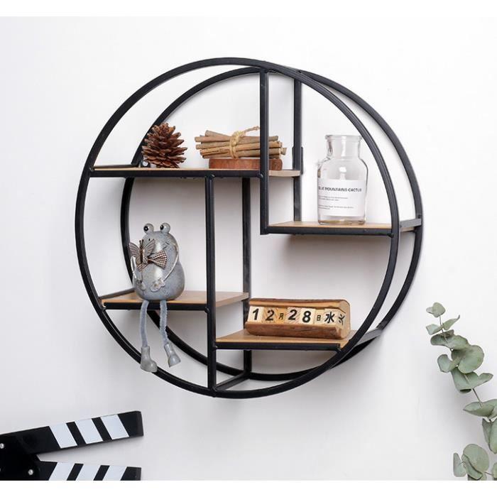 CR Étagère murale ronde en bois et métal - 37.5*37.5cm - Noir