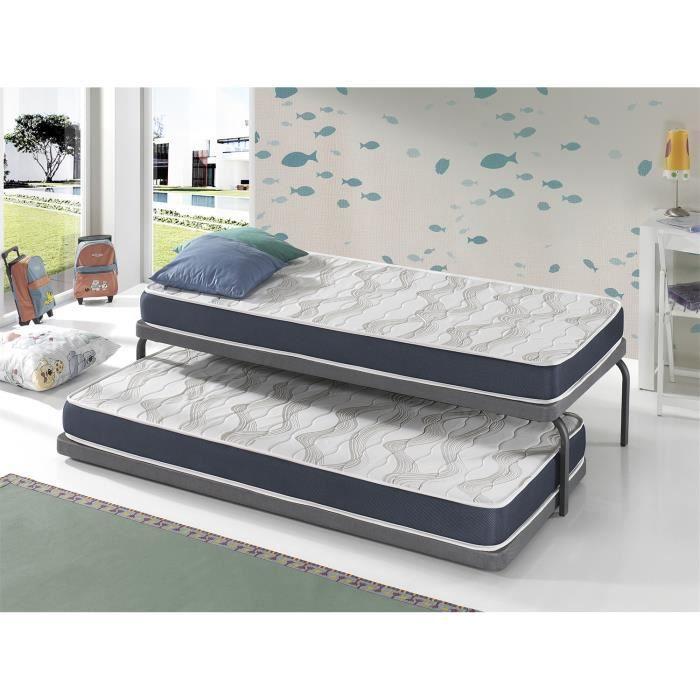 Matelas LOT 2 ERGO CONFORT 90x200 Épaisseur 14 CM – Rembourrage super soft - Juvénil - idéal pour les lits gigognes