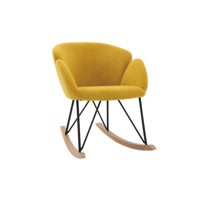 Miliboo & Stéphane Plaza - Rocking chair design velours jaune moutarde RHAPSODY
