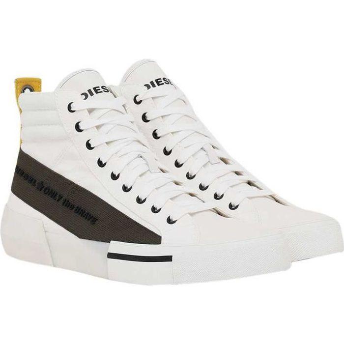 chaussures homme baskets diesel dese mc. confectionnées en coton, ces sneakers montantes sont matelassées au niveau de la cheville.