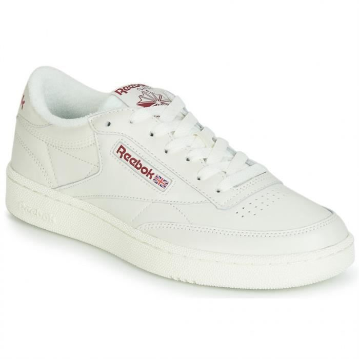 BASKET - reebok club c85 blanc-bordeaux