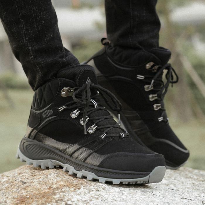 Chaussures de randonnée en plein air de grande taille Chaussures de randonnée, plus de velours de coton Chaussures randonnée Noir