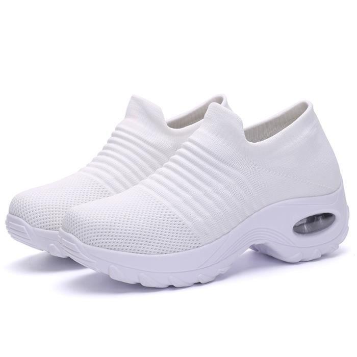 Chaussures de course de sport en maille pour hommes et femmes-blanc