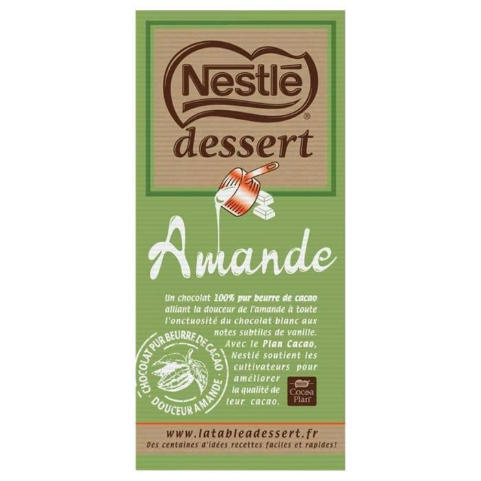 Nestlé Dessert Amande 180g (lot de 10 x 3 tablettess)