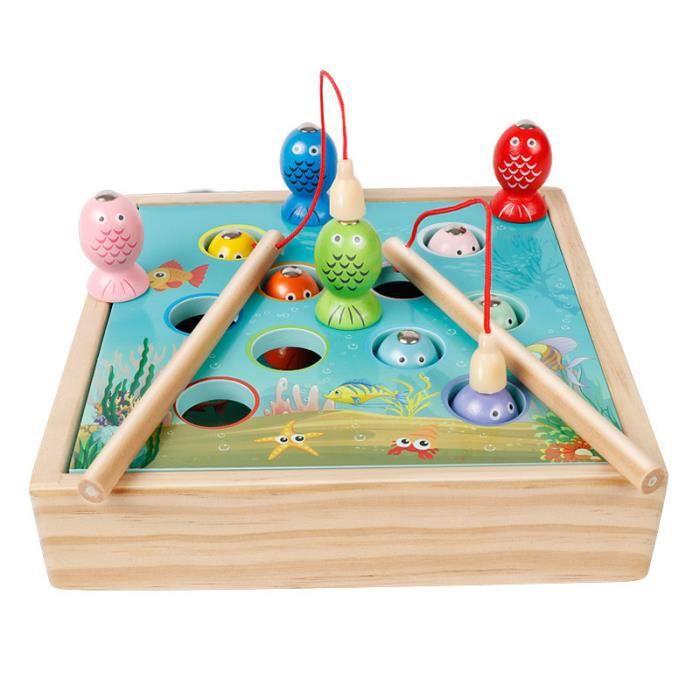 Enfants jouets en bois jeux magnétiques pêche jouet jeu enfants 3D poisson bébé enfants jouets éducatifs en plein air drôle