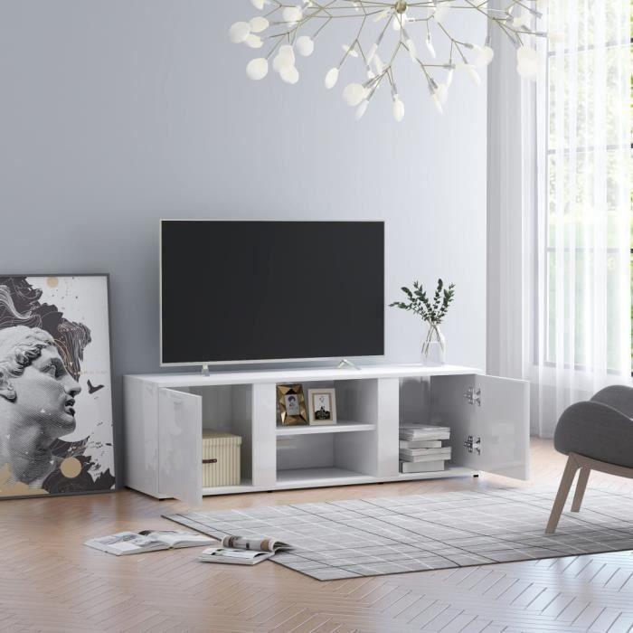 8050Easy® Meuble TV Blanc brillant 120x34x37 cm A Meuble TV Blanc brillant 120x34x37 cm Aggloméré