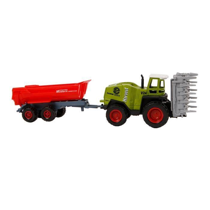 TOM tracteur avec remorque 20 cm vert / rouge junior