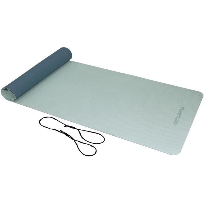 TUNTURI Tapis de Yoga en TPE 4mm Bleu Clair/Bleu Foncé, Ficelle Noir