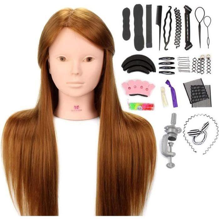 Tête À Coiffer Professionnelle Neverland 24'' Tete a Maquiller Têtes d'exercice avec Maquillage 50% Cheveux Naturel pour le Salon Co