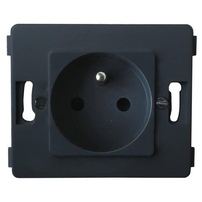 Venus -Prise 2 P+T 16A - composable - Noir
