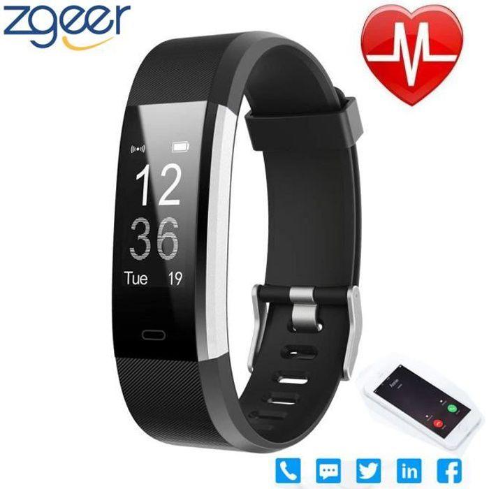 Montre Connectée Tracker d'Activité Podomètre avec Moniteur de Fréquence Cardiaque, Imperméable Compteur de Calories, Android iOS