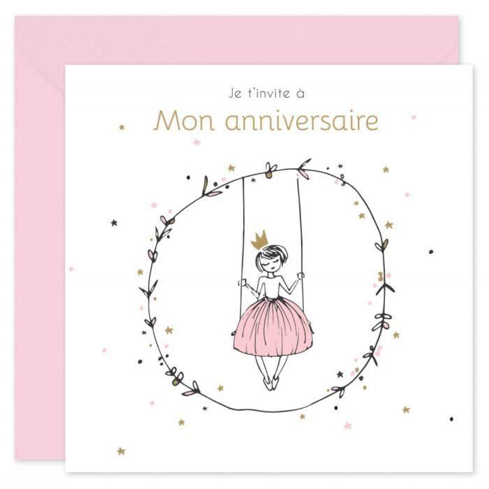 Popcarte 16 Cartes D Invitation Anniversaire Fille Avec 16 Enveloppes Princesse Rose