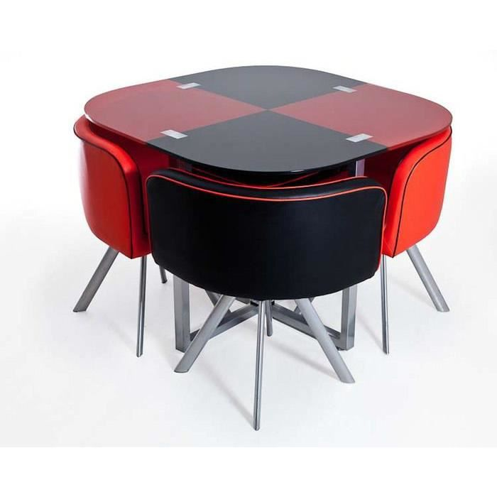 table damier noir et rouge 4 chaises achat vente. Black Bedroom Furniture Sets. Home Design Ideas