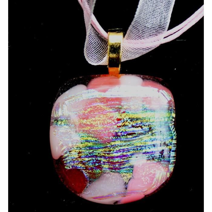 Craze One Of A Kind rose et rouge Dichroïques Fused Glass Pendant Sur Pinkorganza Cord