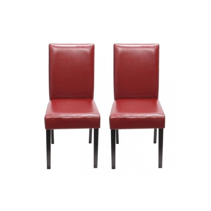 Chaise de salle manger lot de 2 santorini cuir rouge for Chaise contemporaine cuir salle a manger