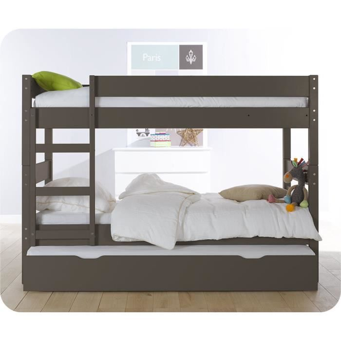 lit superpos enfant 1 2 3 couleur taupe avec sommier. Black Bedroom Furniture Sets. Home Design Ideas