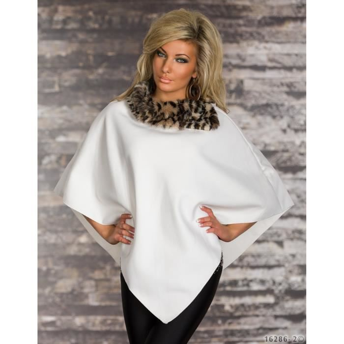 poncho cape veste glamour blanche femme blanc achat vente imperm able trench poncho cape. Black Bedroom Furniture Sets. Home Design Ideas