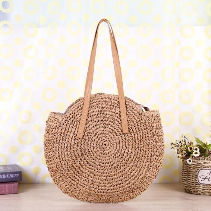 Sac à bandoulière en bambou rond Sac à bandoulière en tissu sac de plage