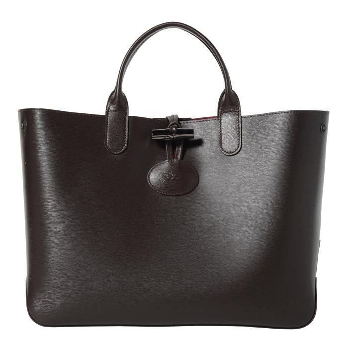 LONGCHAMP - sac femme porté main en cuir - EBENE/ROSE ROSEAU ...