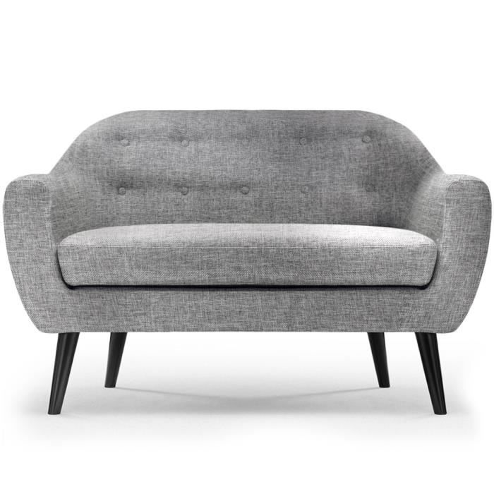 canap scandinave 2 places fidelio tissu gris clair achat vente canap sofa divan. Black Bedroom Furniture Sets. Home Design Ideas