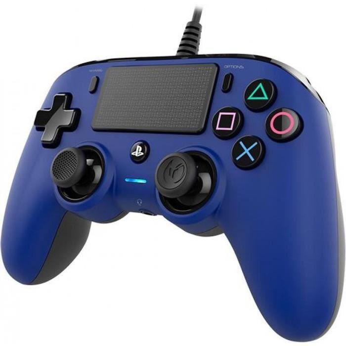 MANETTE JEUX VIDÉO Manette Nacon filaire compact pour PS4 - Bleue