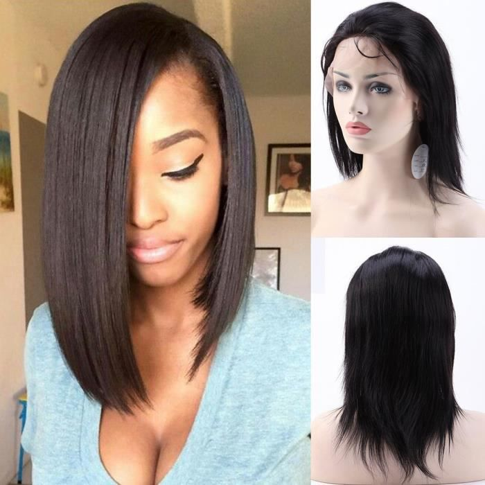 perruque bresilienne cheveux humains naturels perruque femme raide avec lace front lace wig. Black Bedroom Furniture Sets. Home Design Ideas