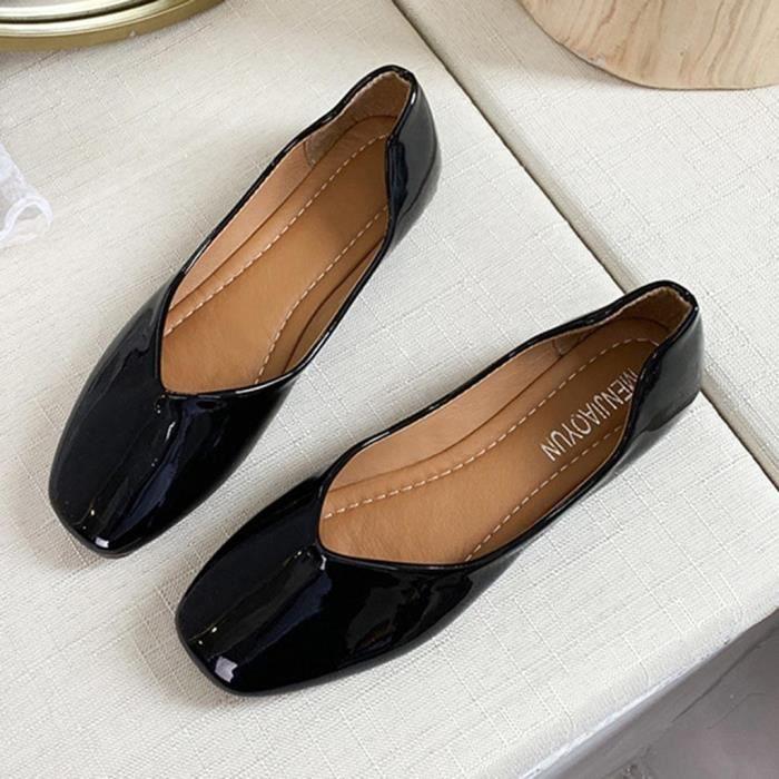 Élégant solide peu profond glissement de femmes sur Sole Bureau simple Chaussures de marche Flats Noir
