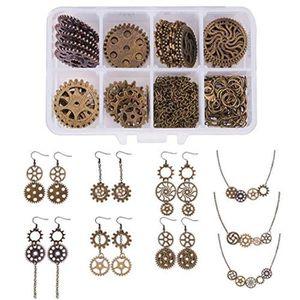 Pack de 5 ~ Grande Horloge synthétique rouages ~ Antique Bronze ~ Charms