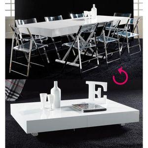 TABLE BASSE Table basse relevable blanc laqué design JACINTA L