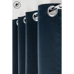 RIDEAU Rideau Occultant 135 x 260 à Oeillets Uni Bleu Mar