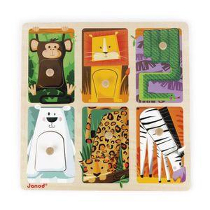 PUZZLE Janod - J07081 - Puzzle Bois Tactile Animaux du Zo