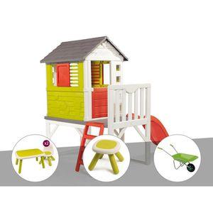 MAISONNETTE EXTÉRIEURE Cabane enfant Pilotis - Smoby + Table et 2 chaises
