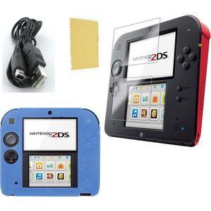 PACK ACCESSOIRE Pack 3 en 1 Nintendo 2DS : Housse silicone bleu -