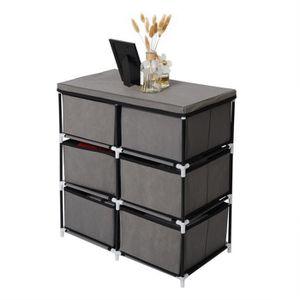 PETIT MEUBLE RANGEMENT  WOLTU Commode multifonctions avec 2x3 tiroirs en t