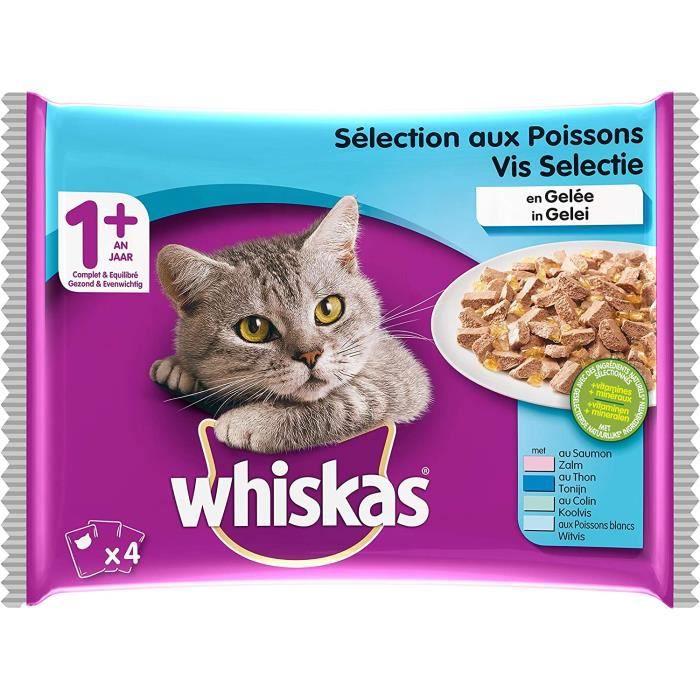 Whiskas Sélection aux Poissons en Gelée – Nourriture humide pour chat adulte – Alimentation complète en sachets fraîcheur – 52 x 100