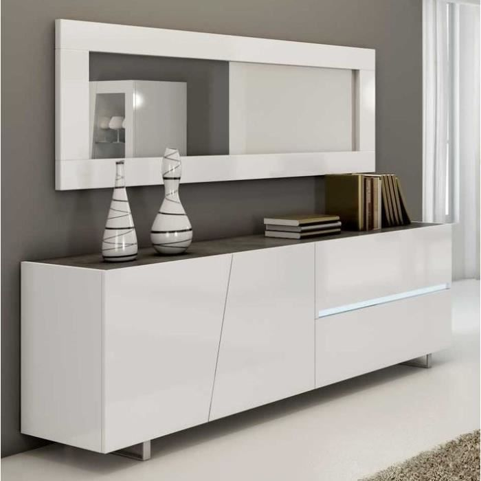 Enfilade design laqué blanc 200 cm LAUREA, 3 portes - 1 tiroirs Blanc