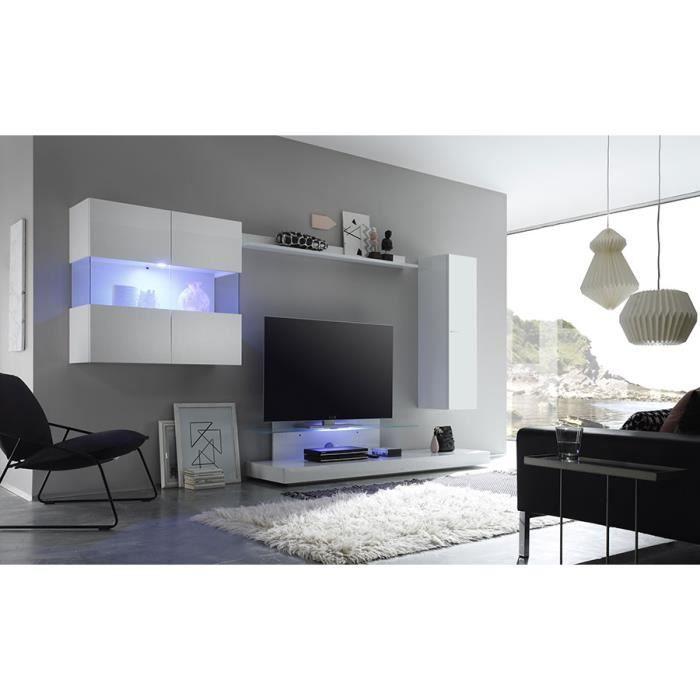 Ensemble meuble TV laqué blanc avec éclairage LED en option design ALBAN Sans L 320 x P 50 x H 175 cm Blanc