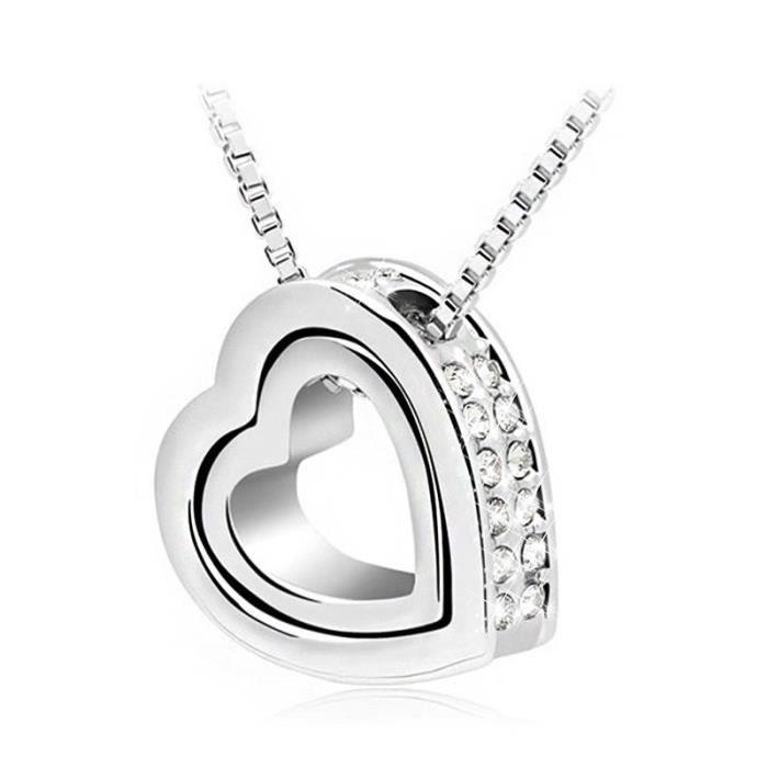Collier - Coeur Incrusté - Diamants Blancs - Argenté/Blanc