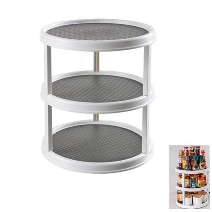 Plateau tournant en plastique à 3 étages pour épices, aliments, etc. – accessoire de rangement cuisine pour placards