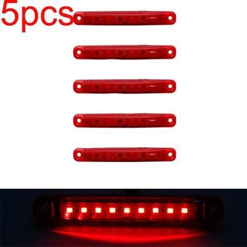 5pcs red 12v -SMD – feu latéral arrière rouge blanc jaune vert bleu 12-24V 9, pour voiture, Bus, camion, marqueur latéral de camion