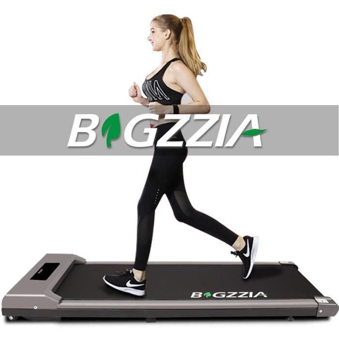bigzzia Tapis de course à pied motorisé - Portable - Plat - Avec télécommande et écran LCD - Pour la maison, le bureau, la salle de