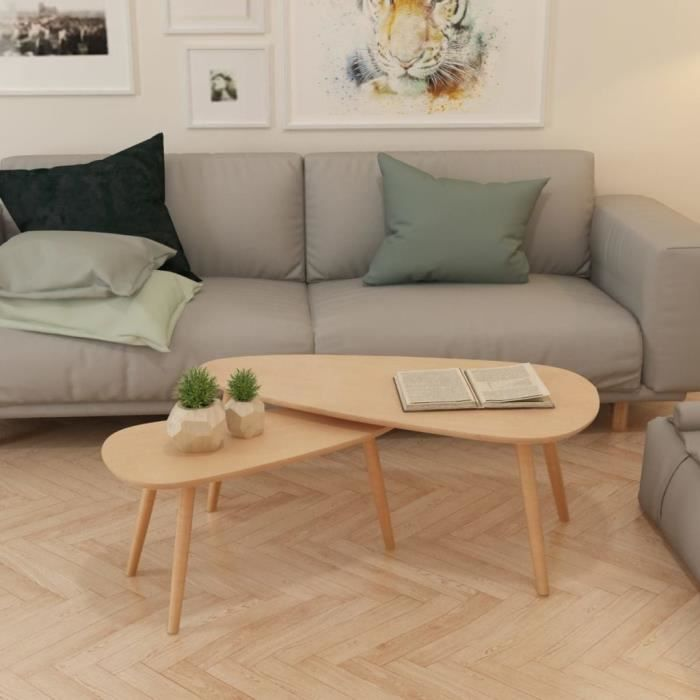 495373 - Design Furniture - Lot de 2 Table basse Scandinave - Bout de canapé Table à thé Bois de pin massif Marron
