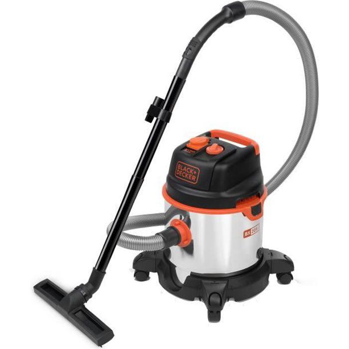 BLACK & DECKER Aspirateur eau et poussière 1400 W cuve 20 L en inox avec prise pour outil électroportatif
