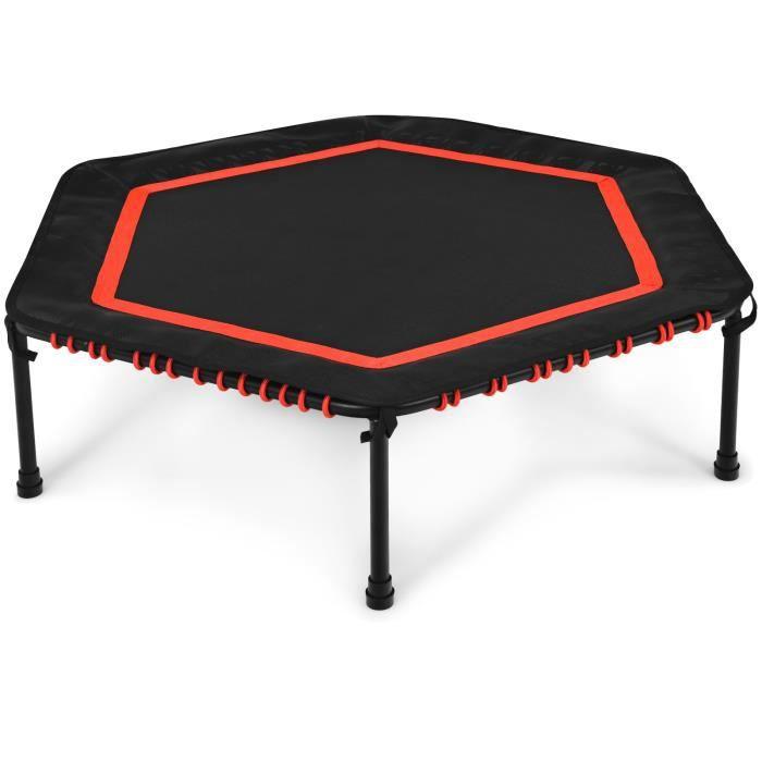 COSTWAY Trampoline de Fitness Pliable Hexagonal Φ126CM Limite 200 KG avec Patins de Sécurité Cordons Elastiques pour Enfants/Adultes