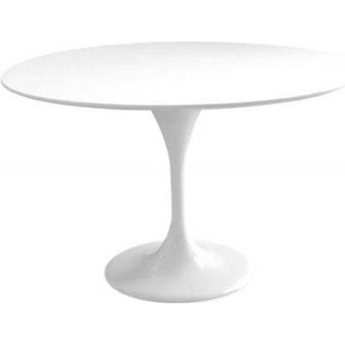 Table ronde de repas design TULIPE laquée blanc 90 cm. - Fibre de verre Inside75